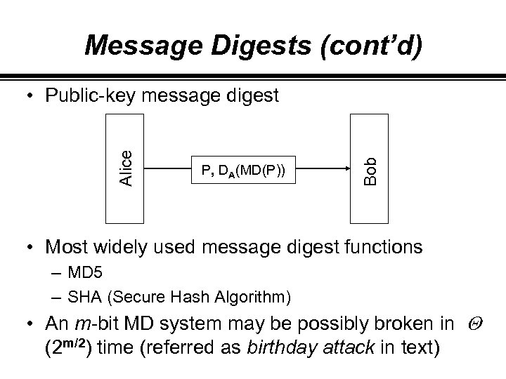 Message Digests (cont'd) P, DA(MD(P)) Bob Alice • Public-key message digest • Most widely