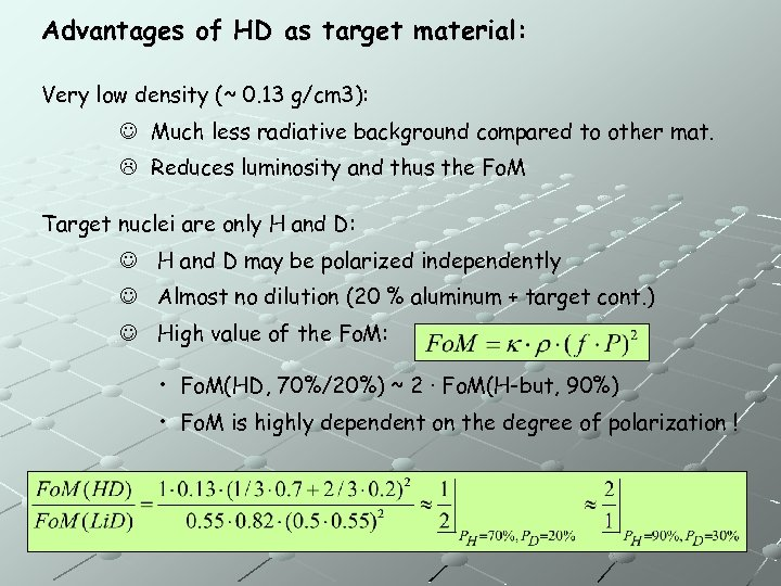 Advantages of HD as target material: Very low density (~ 0. 13 g/cm 3):