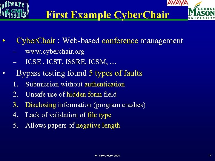 First Example Cyber. Chair • Cyber. Chair : Web-based conference management – – •