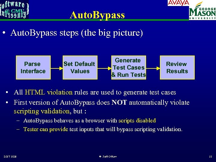 Auto. Bypass • Auto. Bypass steps (the big picture) Parse Interface Set Default Values