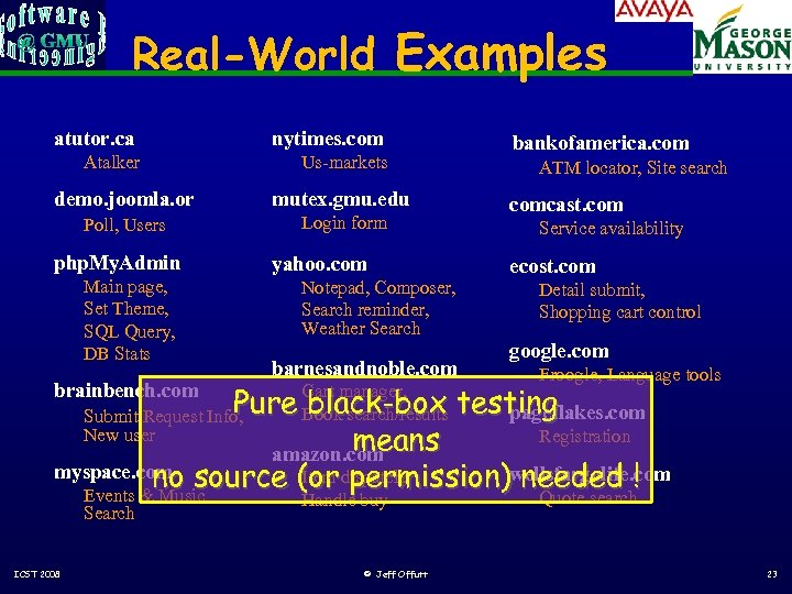 Real-World Examples atutor. ca nytimes. com Atalker Us-markets demo. joomla. or mutex. gmu. edu
