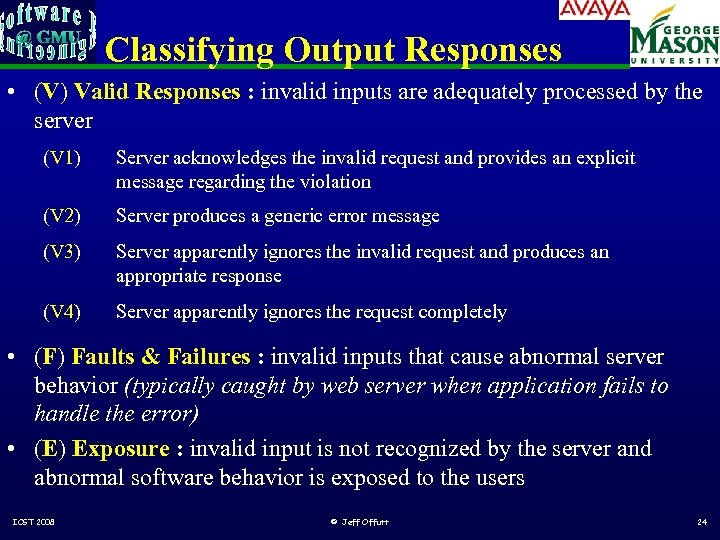 Classifying Output Responses • (V) Valid Responses : invalid inputs are adequately processed by