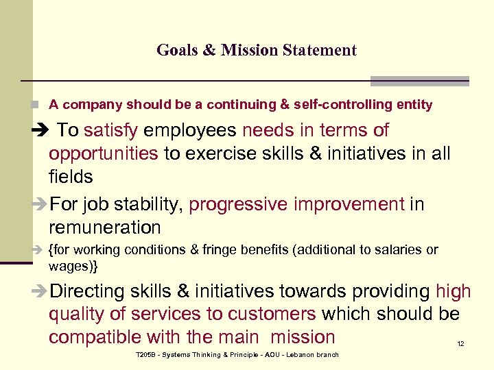 Goals & Mission Statement n A company should be a continuing & self-controlling entity