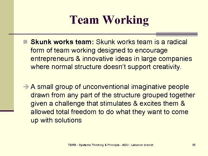 Team Working n Skunk works team: Skunk works team is a radical form of