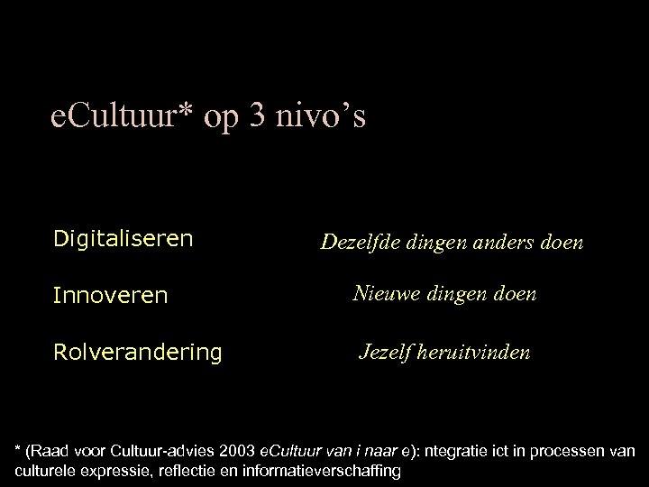 e. Cultuur* op 3 nivo's Digitaliseren Dezelfde dingen anders doen Innoveren Nieuwe dingen doen
