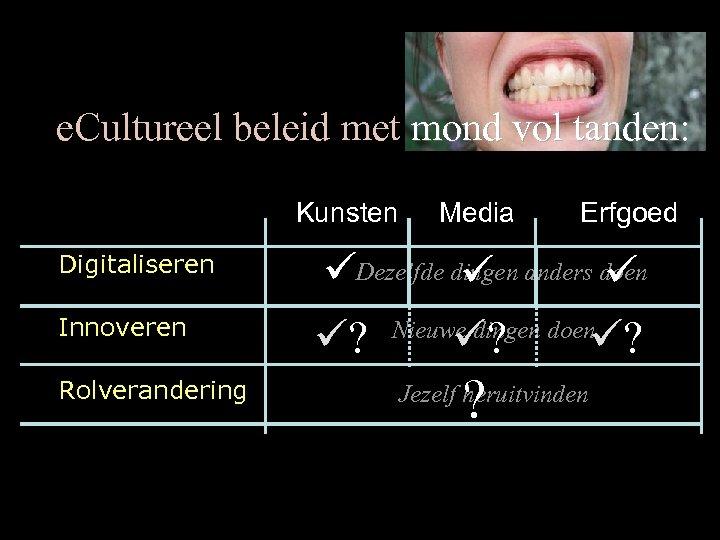 e. Cultureel beleid met mond vol tanden: Kunsten Digitaliseren Innoveren Rolverandering Media Erfgoed Dezelfde