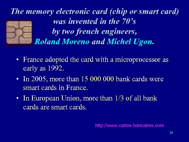 The memory electronic card (chip or smart card) was invented in the 70's by