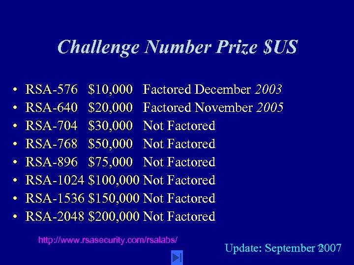 Challenge Number Prize $US • • RSA-576 $10, 000 Factored December 2003 RSA-640 $20,