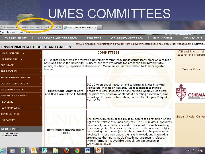 UMES COMMITTEES