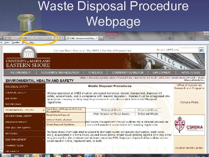 Waste Disposal Procedure Webpage