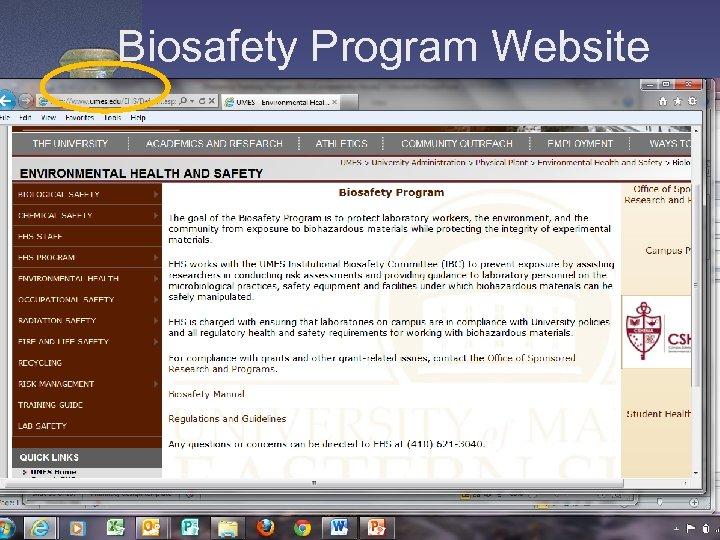 Biosafety Program Website