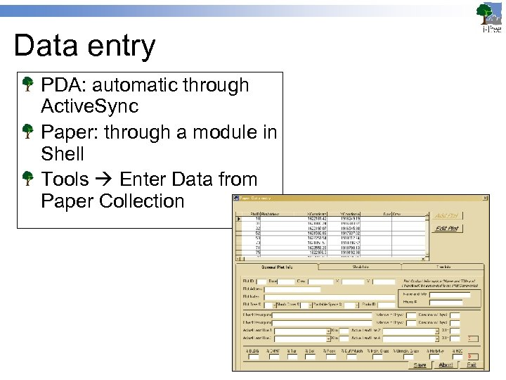 Data entry PDA: automatic through Active. Sync Paper: through a module in Shell Tools