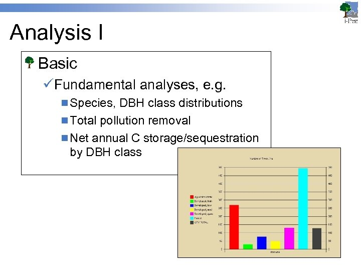 Analysis I Basic üFundamental analyses, e. g. n Species, DBH class distributions n Total