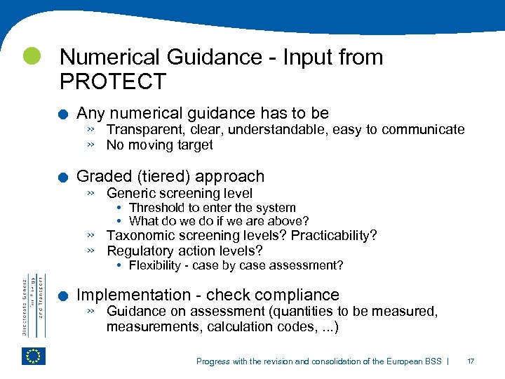 Numerical Guidance - Input from PROTECT . . . Any numerical guidance has