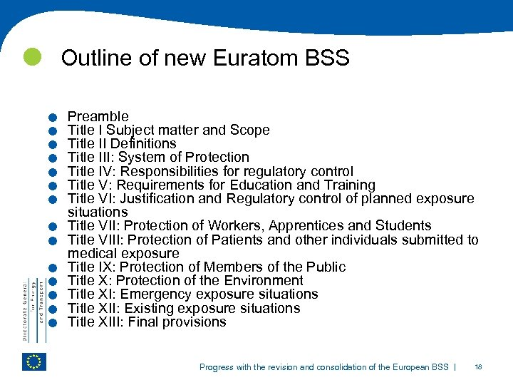 Outline of new Euratom BSS . . . Preamble Title I Subject matter