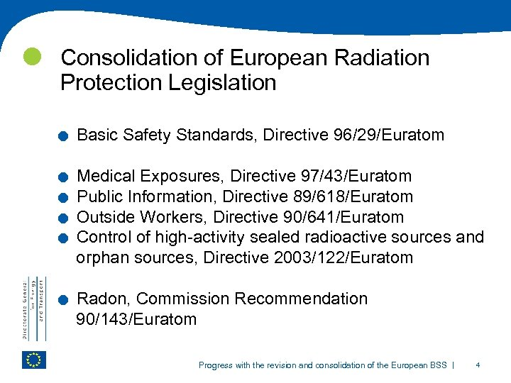 Consolidation of European Radiation Protection Legislation . . . Basic Safety Standards, Directive
