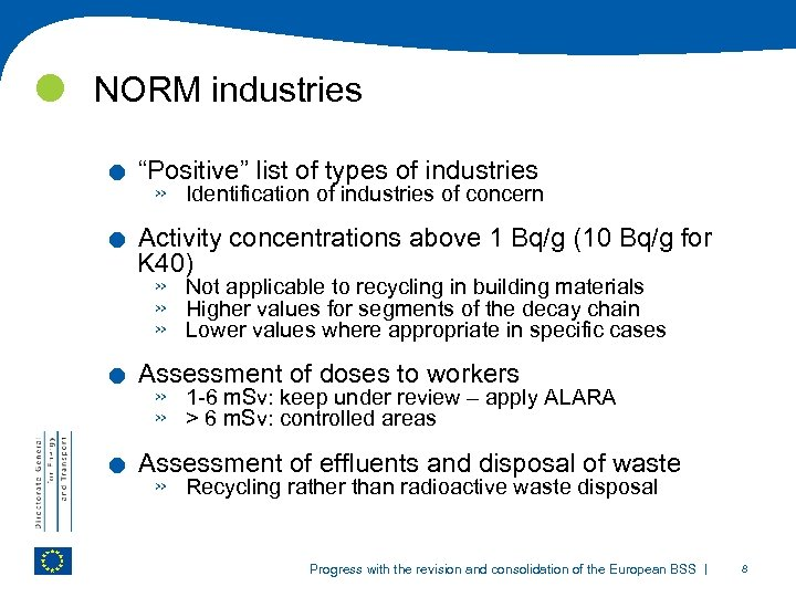 """NORM industries . . """"Positive"""" list of types of industries » Identification of"""