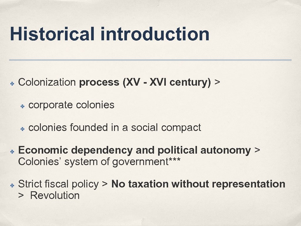Historical introduction ✤ Colonization process (XV - XVI century) > ✤ ✤ corporate colonies