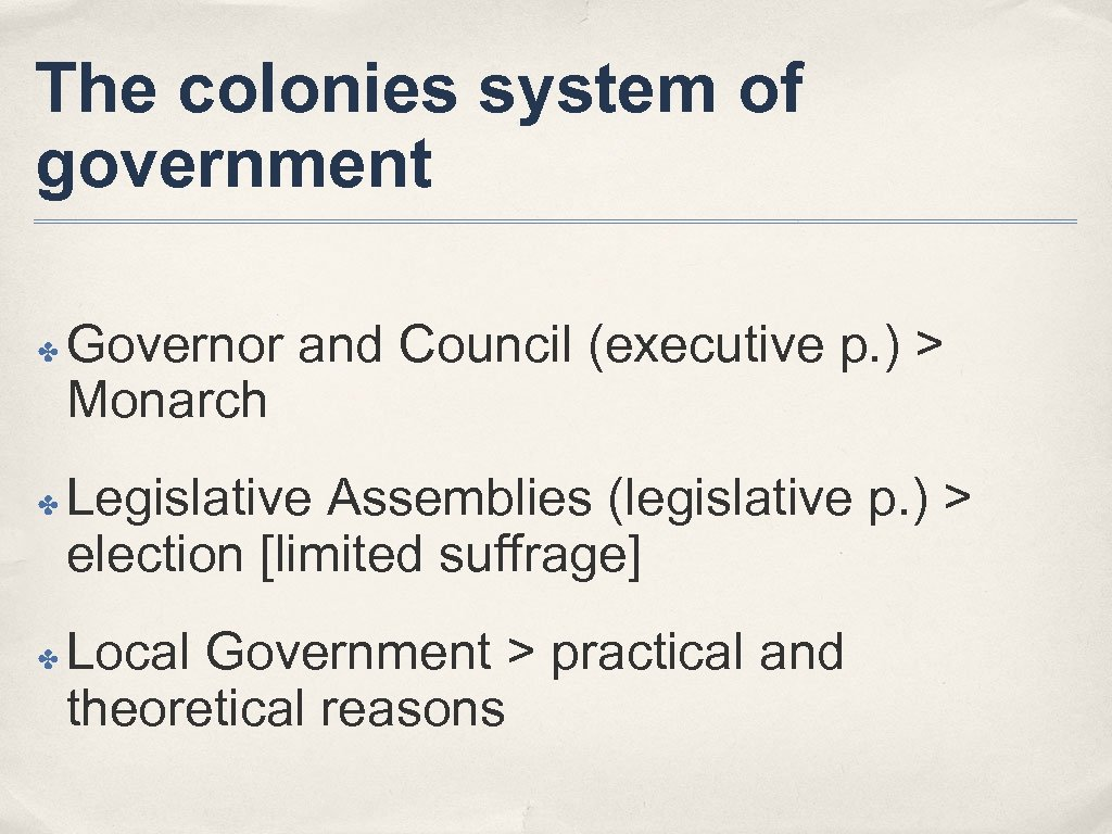 The colonies system of government ✤ ✤ ✤ Governor and Council (executive p. )