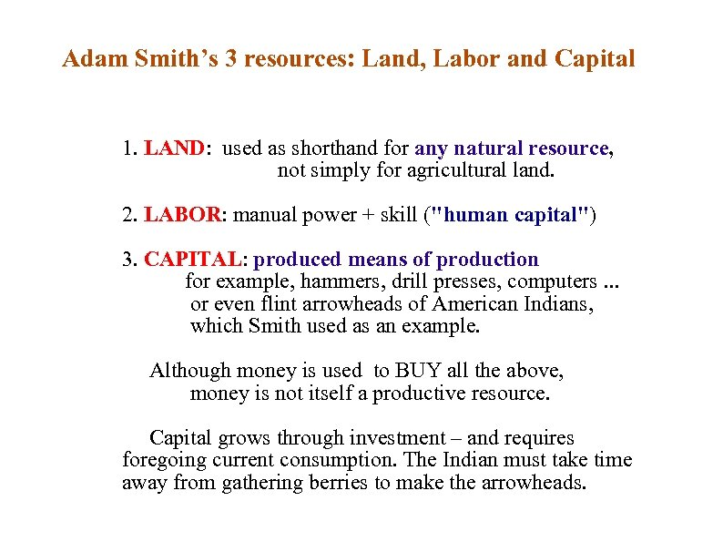 Adam Smith's 3 resources: Land, Labor and Capital 1. LAND: used as shorthand for