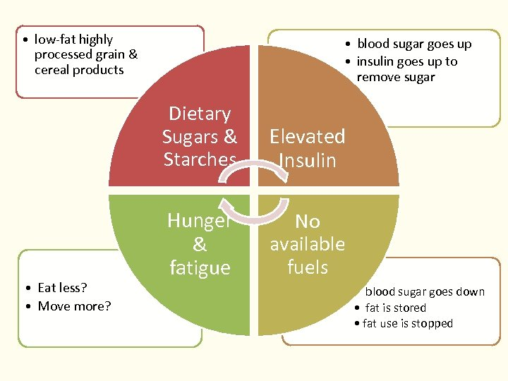 • low-fat highly processed grain & cereal products • blood sugar goes up