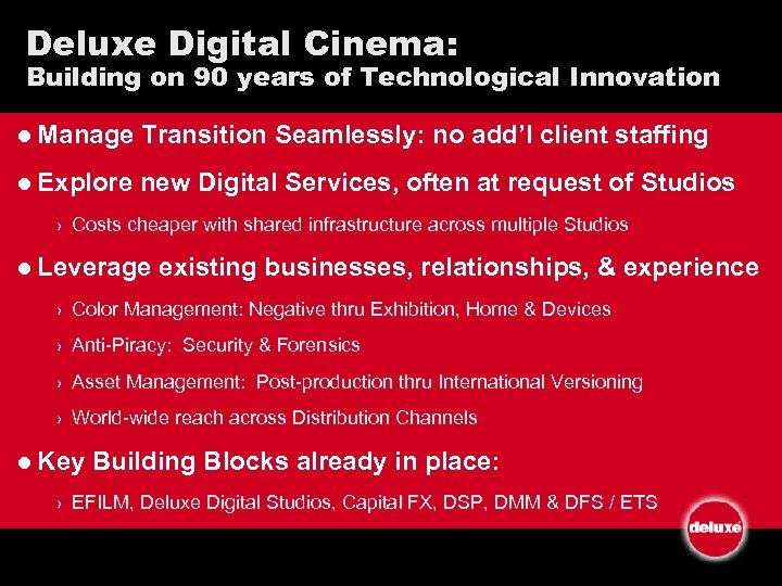 Deluxe Digital Cinema: Building on 90 years of Technological Innovation l Manage Transition Seamlessly: