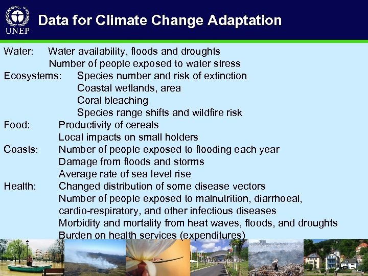 Data for Climate Change Adaptation Water: Water availability, floods and droughts Number of people