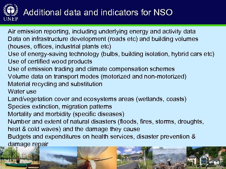 Additional data and indicators for NSO Air emission reporting, including underlying energy and activity
