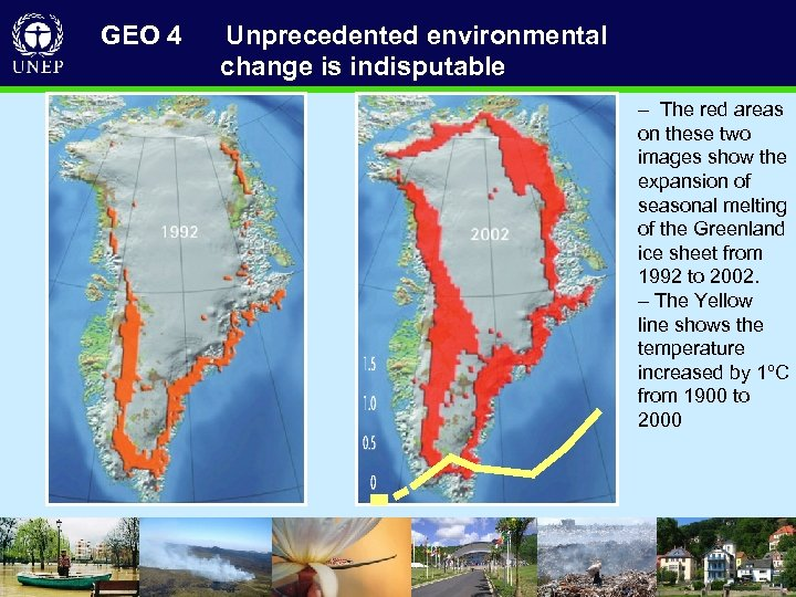 GEO 4 Unprecedented environmental change is indisputable – The red areas on these two