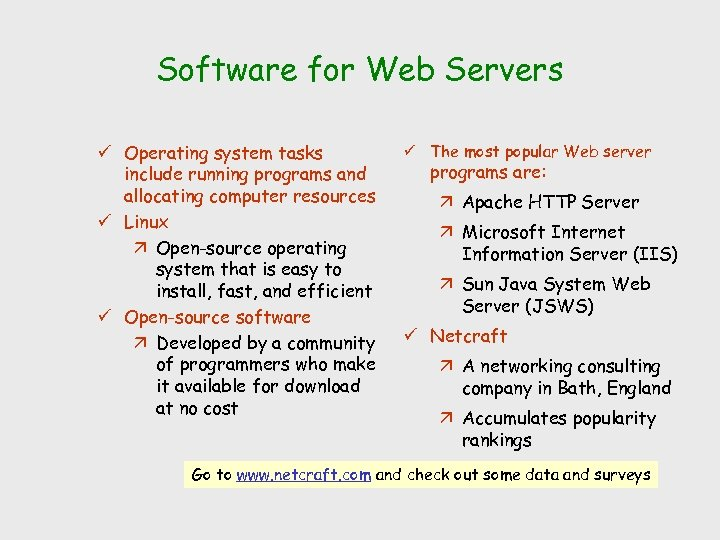 Software for Web Servers ü Operating system tasks include running programs and allocating computer