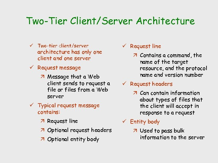 Two-Tier Client/Server Architecture ü Two-tier client/server architecture has only one client and one server