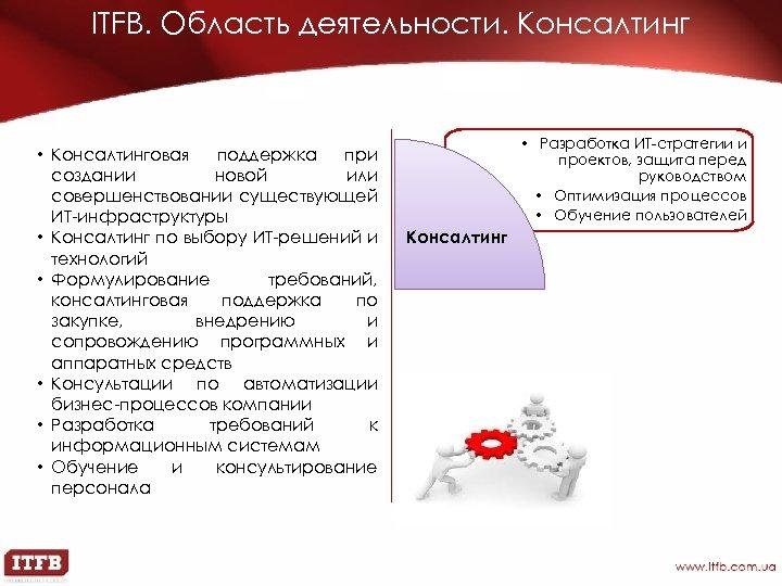 ITFB. Область деятельности. Консалтинг • Консалтинговая поддержка при создании новой или совершенствовании существующей ИТ-инфраструктуры