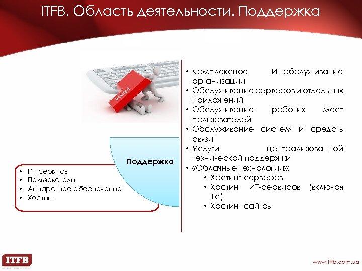 ITFB. Область деятельности. Поддержка • • ИТ-сервисы Пользователи Аппаратное обеспечение Хостинг • Комплексное ИТ-обслуживание