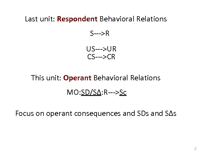 Last unit: Respondent Behavioral Relations S--->R US--->UR CS--->CR This unit: Operant Behavioral Relations MO: