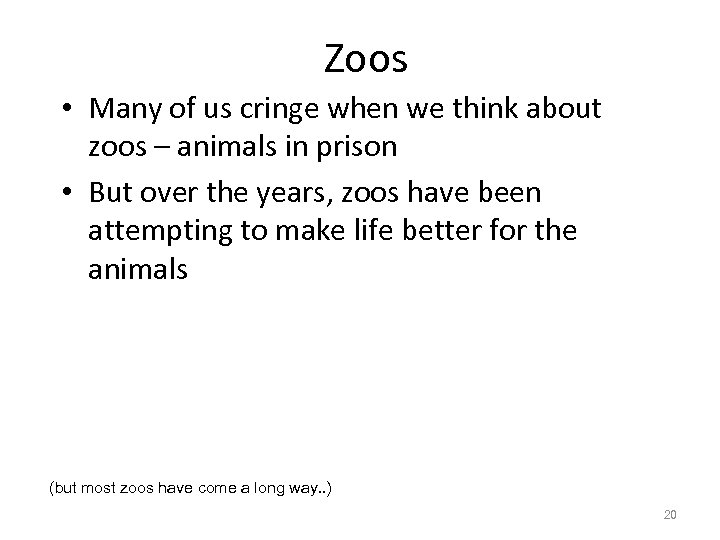 Zoos • Many of us cringe when we think about zoos – animals in