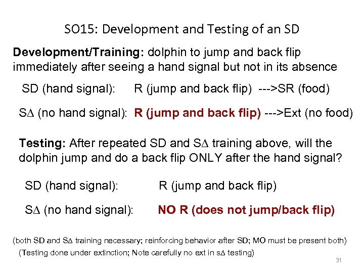 SO 15: Development and Testing of an SD Development/Training: dolphin to jump and back