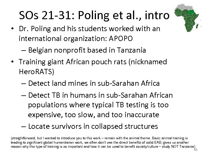 SOs 21 -31: Poling et al. , intro • Dr. Poling and his students