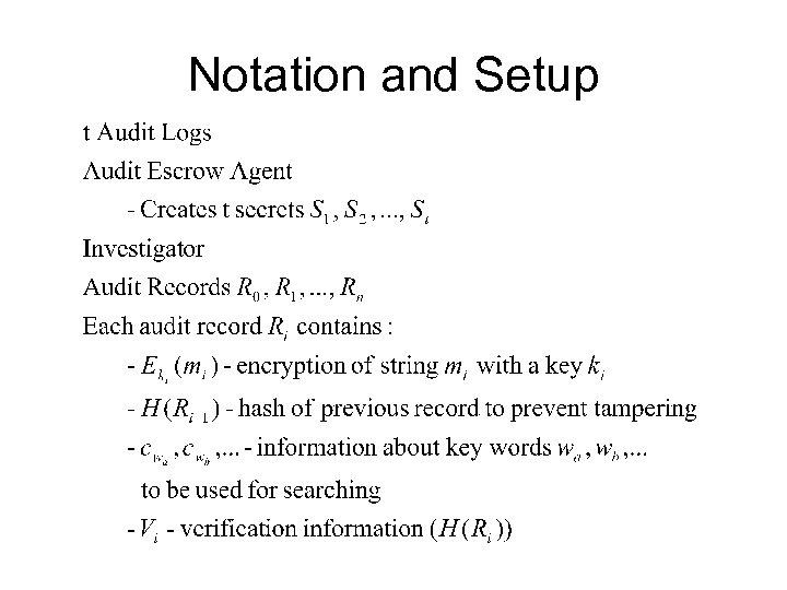 Notation and Setup