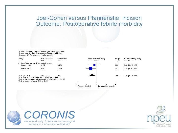 Joel-Cohen versus Pfannenstiel incision Outcome: Postoperative febrile morbidity