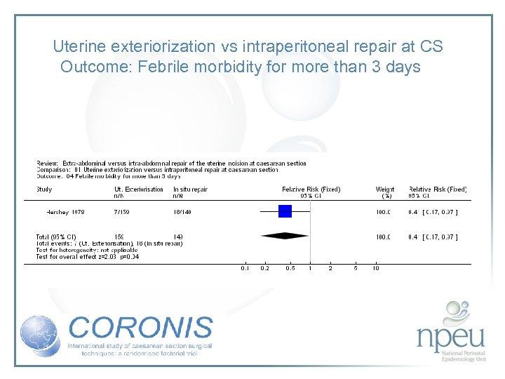 Uterine exteriorization vs intraperitoneal repair at CS Outcome: Febrile morbidity for more than 3