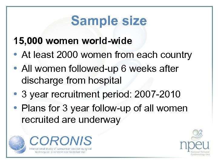 Sample size 15, 000 women world-wide • At least 2000 women from each country