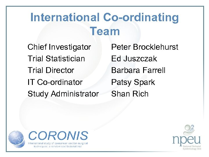 International Co-ordinating Team Chief Investigator Trial Statistician Trial Director IT Co-ordinator Study Administrator Peter