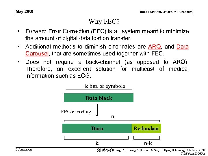 May 2009 doc. : IEEE 802. 15 -09 -0317 -02 -0006 Why FEC? •