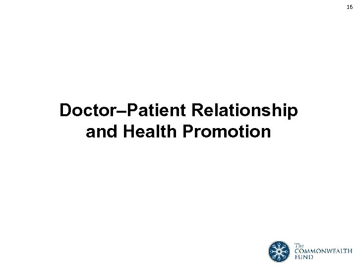 16 Doctor–Patient Relationship and Health Promotion