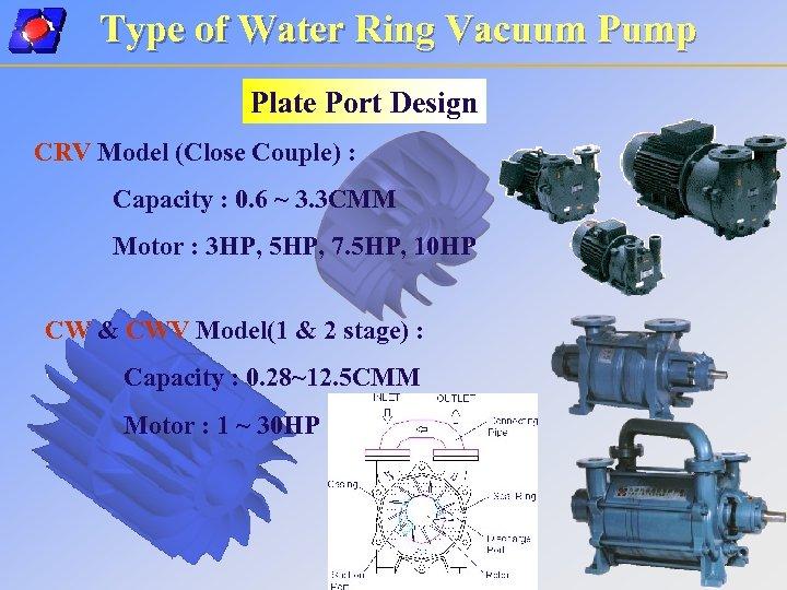 Type of Water Ring Vacuum Pump Plate Port Design CRV Model (Close Couple) :