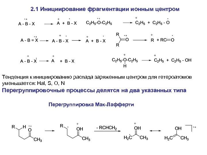 2. 1 Инициирование фрагментации ионным центром Тенденция к инициированию распада заряженным центром для гетероатомов