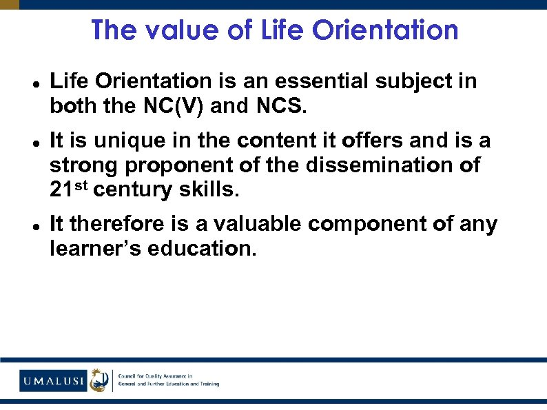 The value of Life Orientation is an essential subject in both the NC(V) and