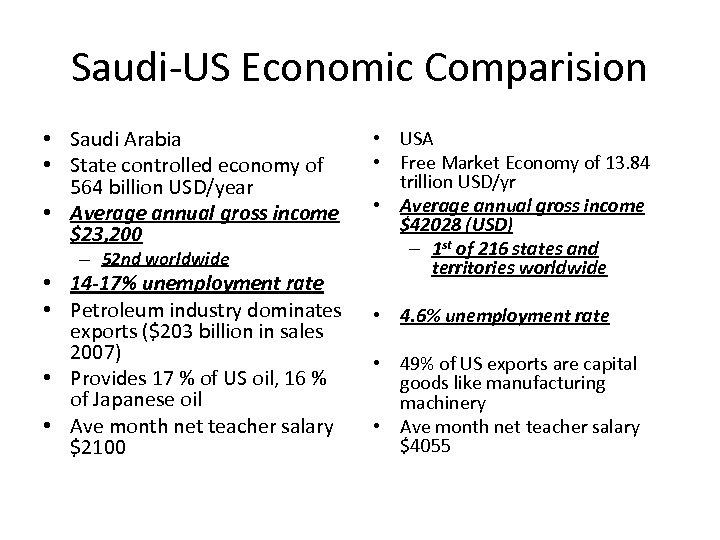 Saudi-US Economic Comparision • Saudi Arabia • State controlled economy of 564 billion USD/year