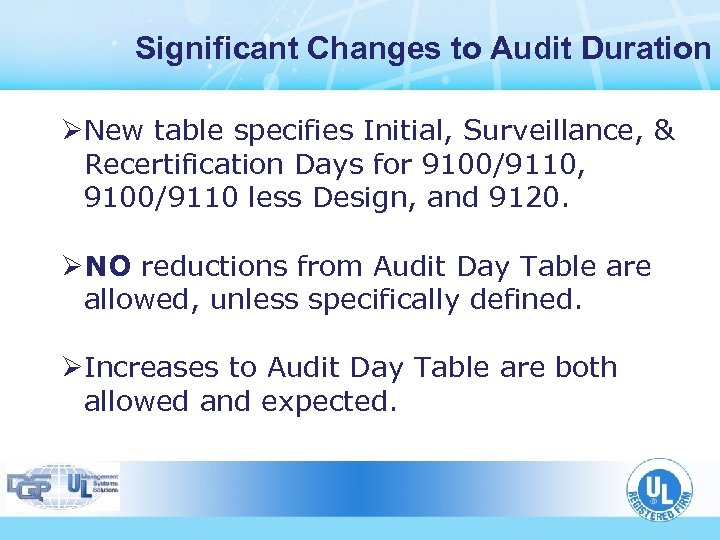 Significant Changes to Audit Duration ØNew table specifies Initial, Surveillance, & Recertification Days for