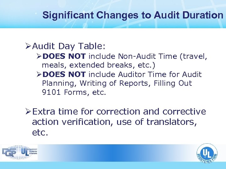 Significant Changes to Audit Duration ØAudit Day Table: ØDOES NOT include Non-Audit Time (travel,